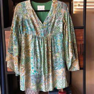 Anthropologie Silk Floreat Floral Top